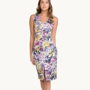 Black Halo Floral Print V-Neck Corall Sheath Dress